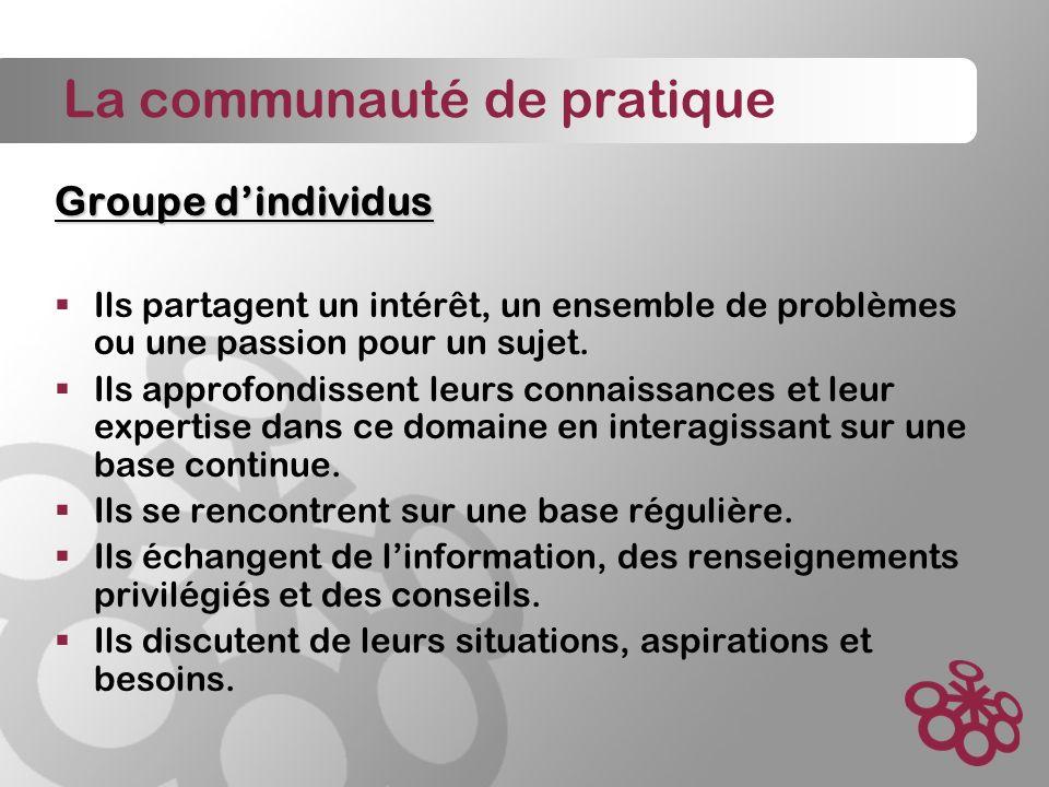 La communauté de pratique Groupe dindividus Ils partagent un intérêt, un ensemble de problèmes ou une passion pour un sujet.