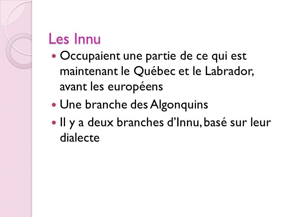 Les Innu (suite) Mushuau (branche du nord) Shehatshiu (branche du sud) Dépendait surtout des animaux (les castors, les caribous, les ours, les porcs-épics, les lièvres les poissons) Dépendait surtout de la migration et des troupeaux de caribous Se déplaçait souvent à lintérieur dune région Se déplaçait surtout quand il y avait peu de caribous ; pouvait couvrir de très longues distances
