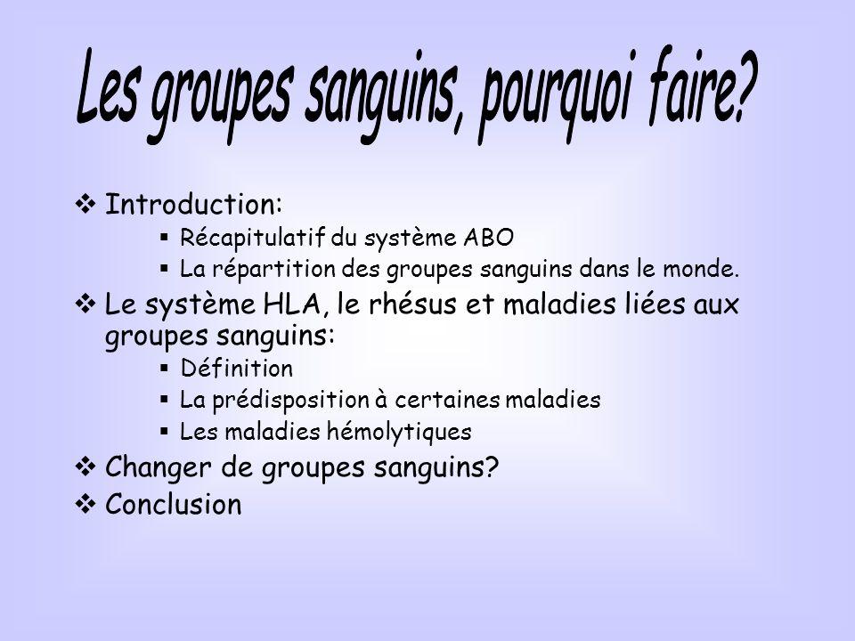 Introduction: Récapitulatif du système ABO La répartition des groupes sanguins dans le monde. Le système HLA, le rhésus et maladies liées aux groupes