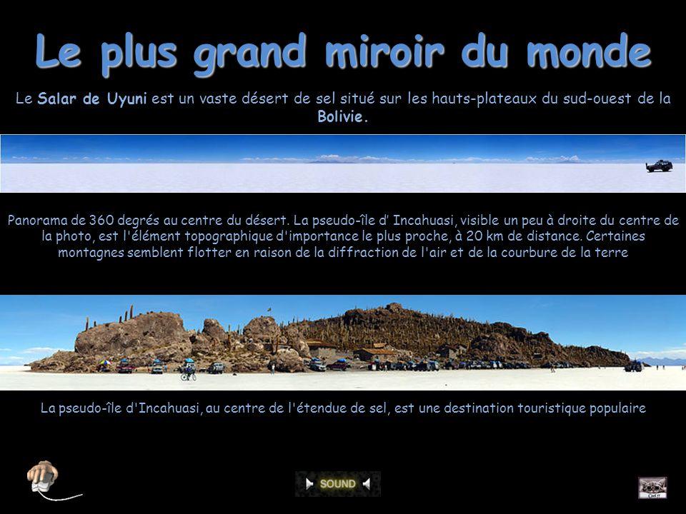 Le plus grand miroir du monde Panorama de 360 degrés au centre du désert.