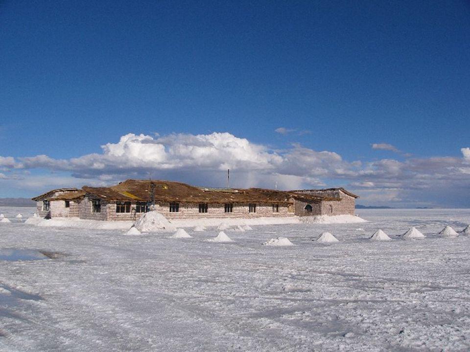 Un hôtel, situé au centre du lac et entièrement construit en sel, est une curiosité du lieu. L'île de corail d Incahuasi, couverte de cactus, est isol