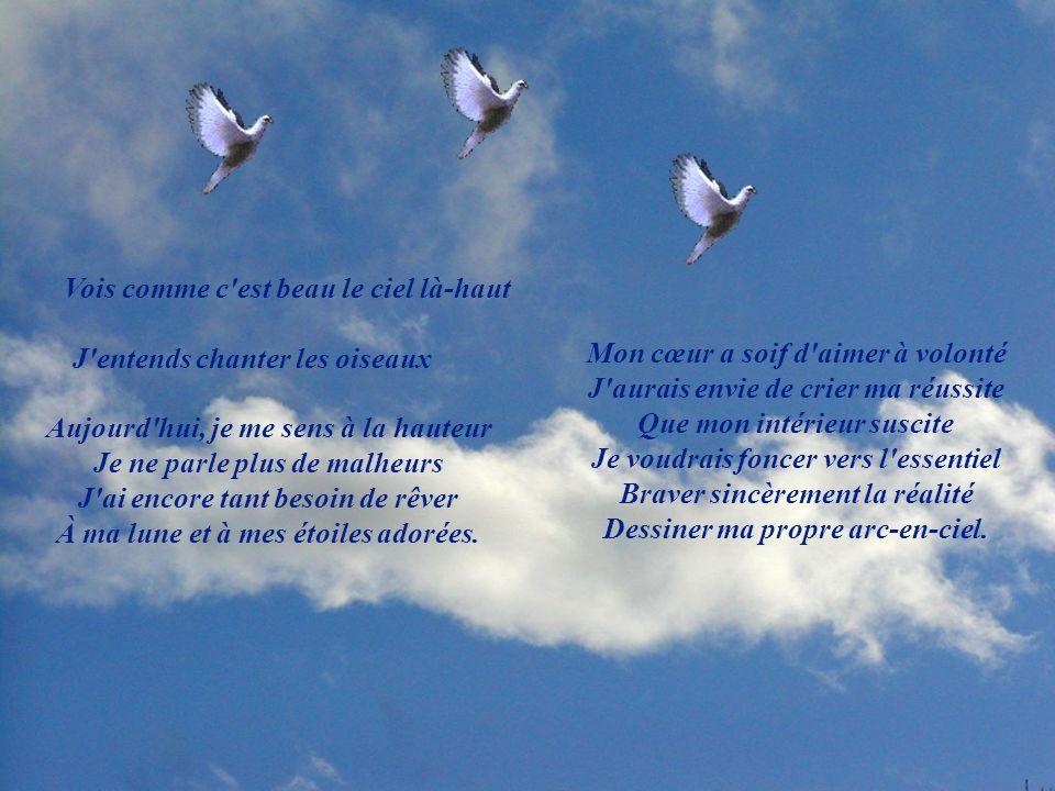 Vois comme c est beau le ciel là-haut J entends chanter les oiseaux Aujourd hui, je me sens à la hauteur Je ne parle plus de malheurs J ai encore tant besoin de rêver À ma lune et à mes étoiles adorées.