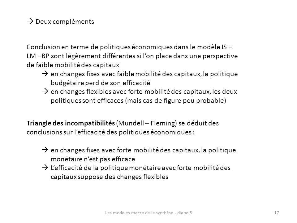 Les modèles macro de la synthèse - diapo 317 Deux compléments Conclusion en terme de politiques économiques dans le modèle IS – LM –BP sont légèrement