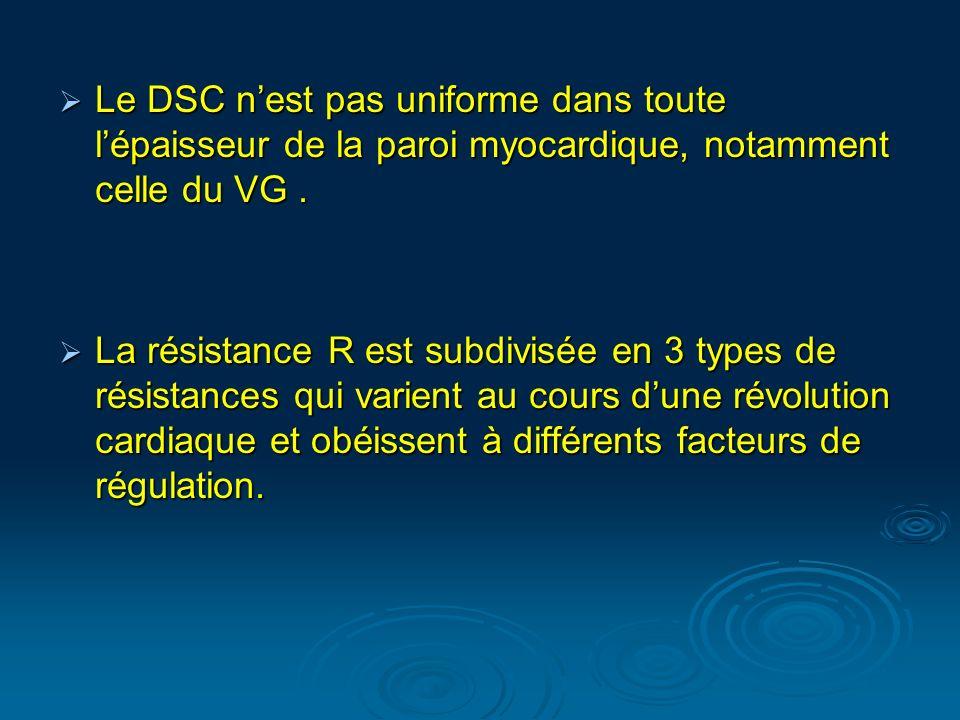 Le DSC nest pas uniforme dans toute lépaisseur de la paroi myocardique, notamment celle du VG. Le DSC nest pas uniforme dans toute lépaisseur de la pa