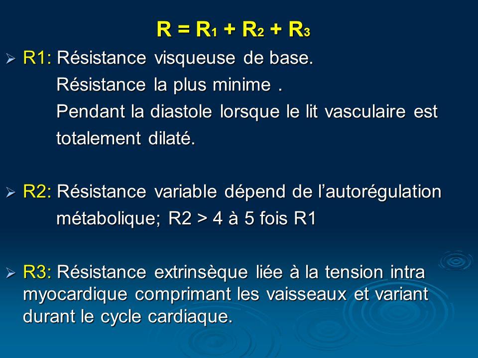 R = R 1 + R 2 + R 3 R1: Résistance visqueuse de base. R1: Résistance visqueuse de base. Résistance la plus minime. Résistance la plus minime. Pendant