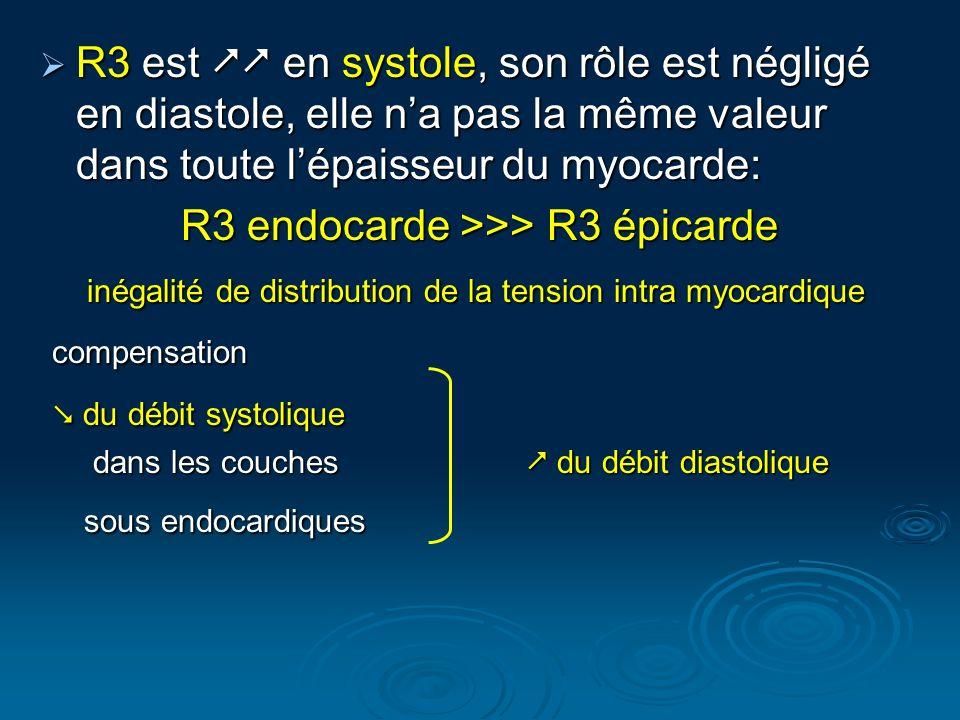 R3 est en systole, son rôle est négligé en diastole, elle na pas la même valeur dans toute lépaisseur du myocarde: R3 est en systole, son rôle est nég
