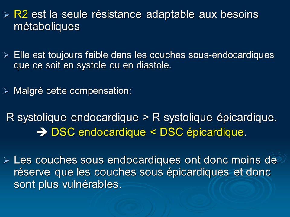 R2 est la seule résistance adaptable aux besoins métaboliques R2 est la seule résistance adaptable aux besoins métaboliques Elle est toujours faible d