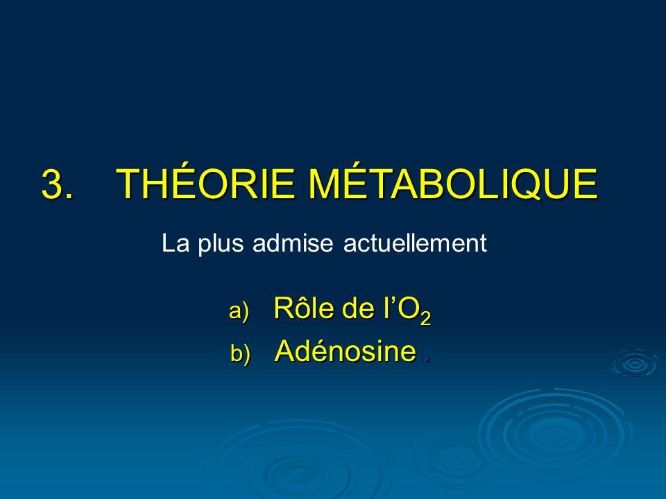 3.THÉORIE MÉTABOLIQUE La plus admise actuellement a) Rôle de lO 2 b) Adénosine.