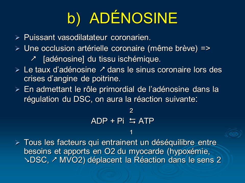 b)ADÉNOSINE Puissant vasodilatateur coronarien. Puissant vasodilatateur coronarien. Une occlusion artérielle coronaire (même brève) => Une occlusion a