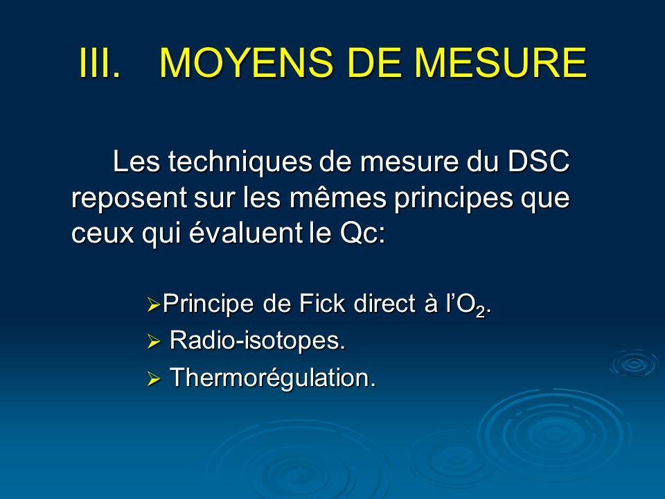 Les techniques de mesure du DSC reposent sur les mêmes principes que ceux qui évaluent le Qc: Principe de Fick direct à lO 2. Principe de Fick direct
