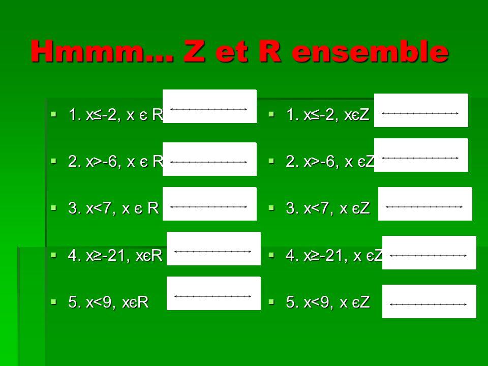 Hmmm… Z et R ensemble 1. x-2, x є R 1. x-2, x є R 2.