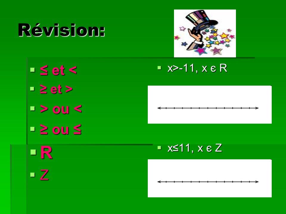 Révision: et < et < et > et > > ou ou < ou ou R Z x>-11, x є R x>-11, x є R x11, x є Z x11, x є Z