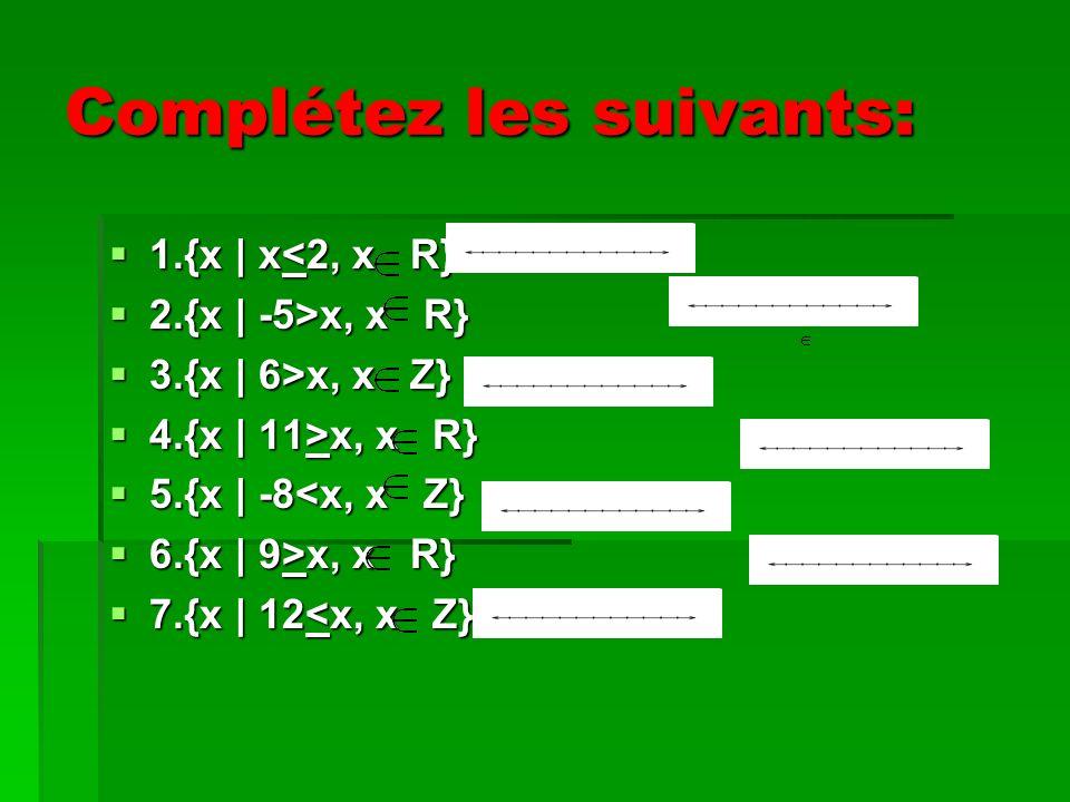 Complétez les suivants: 1.{x | x<2, x R} 1.{x | x<2, x R} 2.{x | -5>x, x R} 2.{x | -5>x, x R} 3.{x | 6>x, x Z} 3.{x | 6>x, x Z} 4.{x | 11>x, x R} 4.{x | 11>x, x R} 5.{x | -8<x, x Z} 5.{x | -8<x, x Z} 6.{x | 9>x, x R} 6.{x | 9>x, x R} 7.{x | 12<x, x Z} 7.{x | 12<x, x Z}