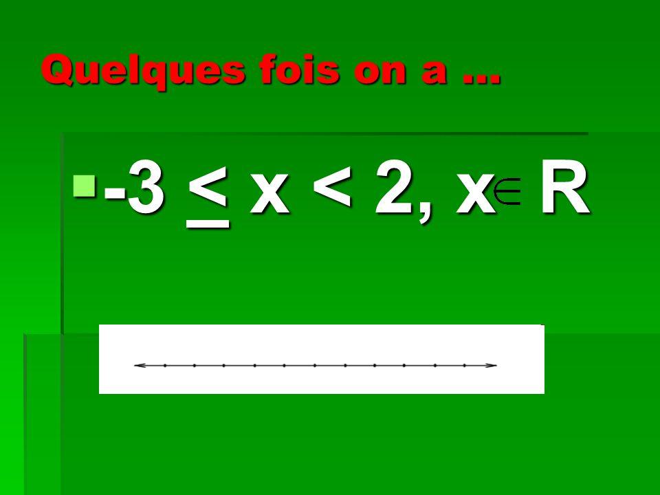Quelques fois on a … -3 < x < 2, x R -3 < x < 2, x R