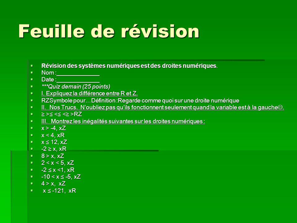 Feuille de révision Révision des systèmes numériques est des droites numériques.