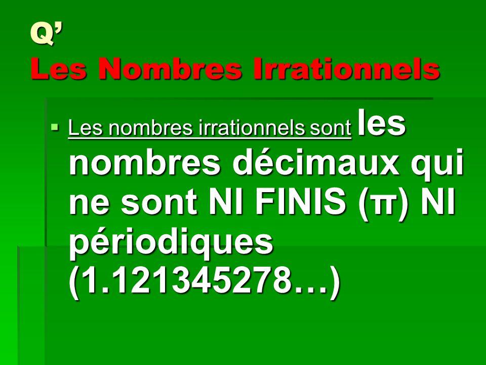 Q Les Nombres Irrationnels Les nombres irrationnels sont les nombres décimaux qui ne sont NI FINIS (π) NI périodiques (1.121345278…) Les nombres irrationnels sont les nombres décimaux qui ne sont NI FINIS (π) NI périodiques (1.121345278…)