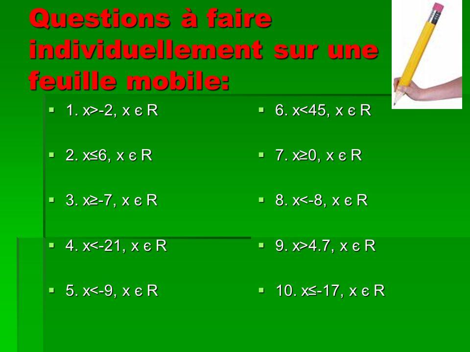 Questions à faire individuellement sur une feuille mobile: 1.