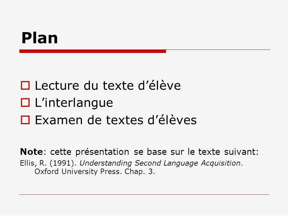 Plan Lecture du texte délève Linterlangue Examen de textes délèves Note: cette présentation se base sur le texte suivant: Ellis, R.