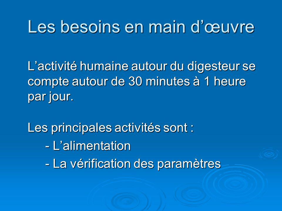Les besoins en main dœuvre Lactivité humaine autour du digesteur se compte autour de 30 minutes à 1 heure par jour. Les principales activités sont : -