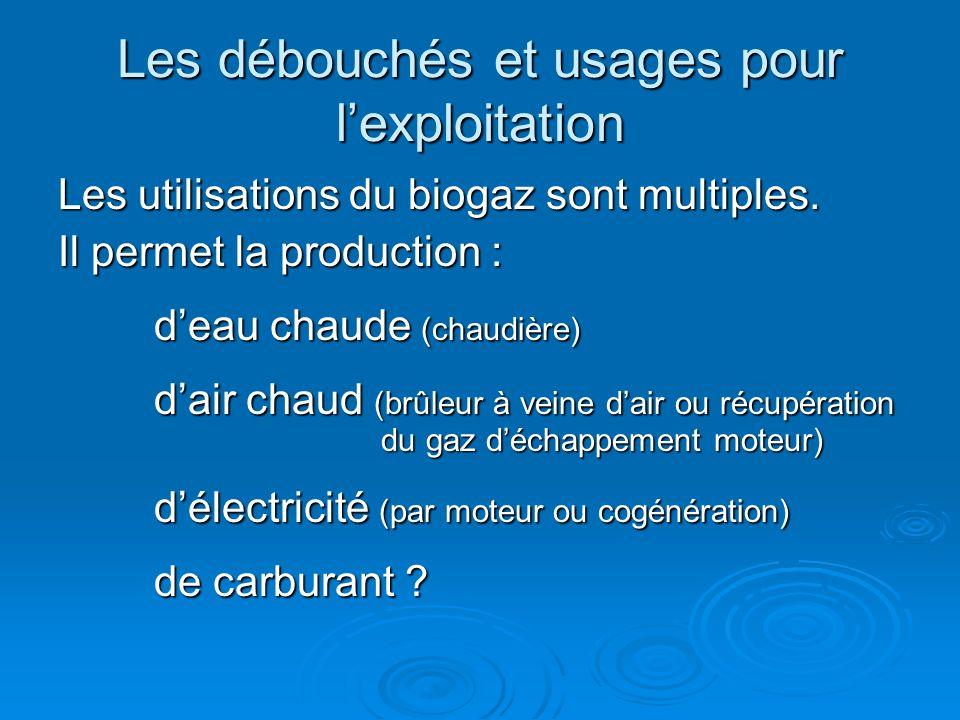 Les débouchés et usages pour lexploitation Les utilisations du biogaz sont multiples. Il permet la production : deau chaude (chaudière) dair chaud (br