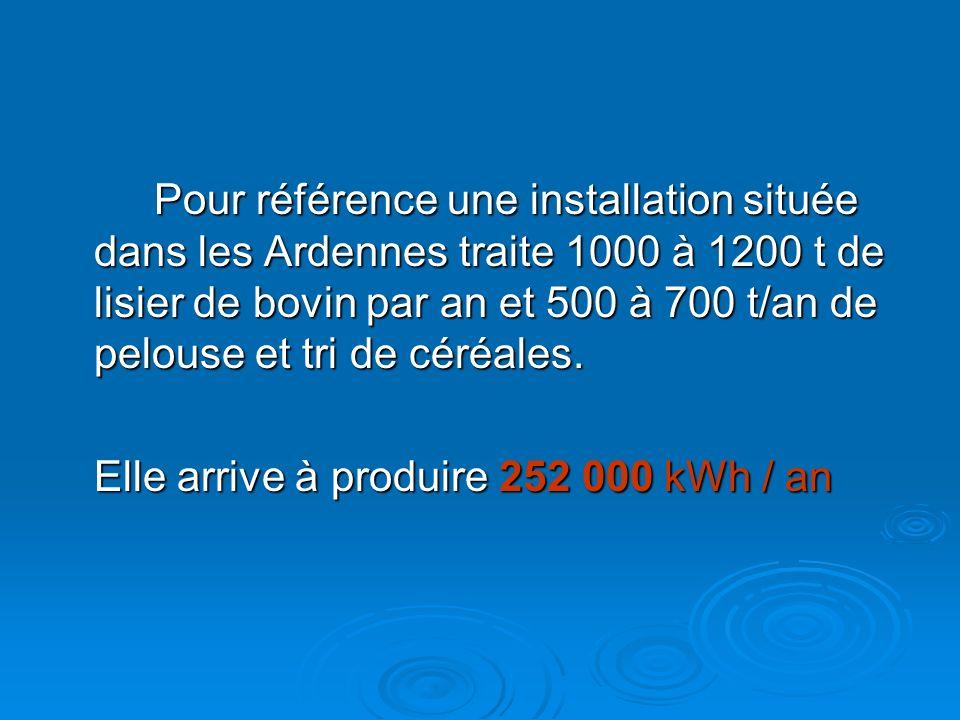 Pour référence une installation située dans les Ardennes traite 1000 à 1200 t de lisier de bovin par an et 500 à 700 t/an de pelouse et tri de céréale