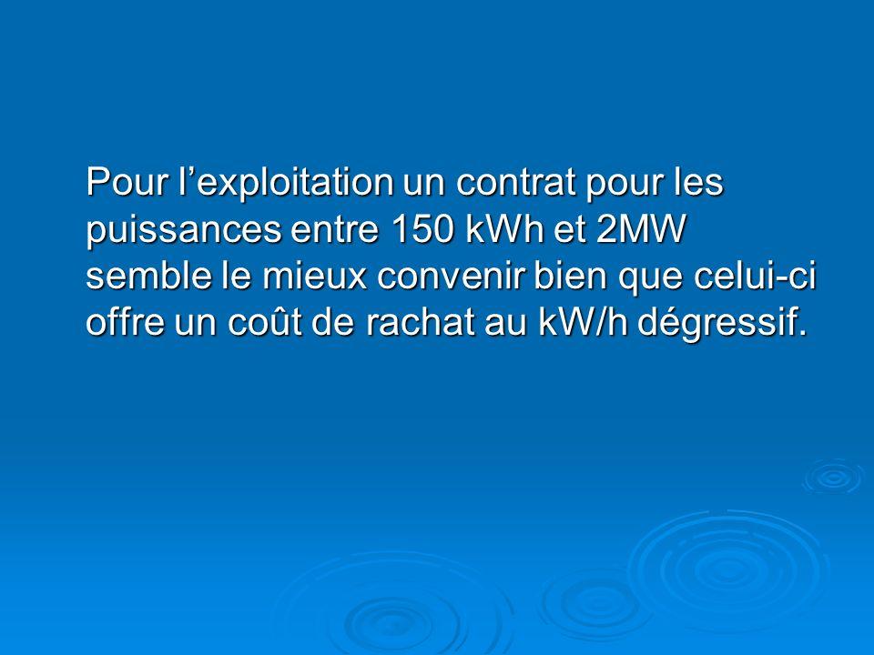 Pour lexploitation un contrat pour les puissances entre 150 kWh et 2MW semble le mieux convenir bien que celui-ci offre un coût de rachat au kW/h dégr