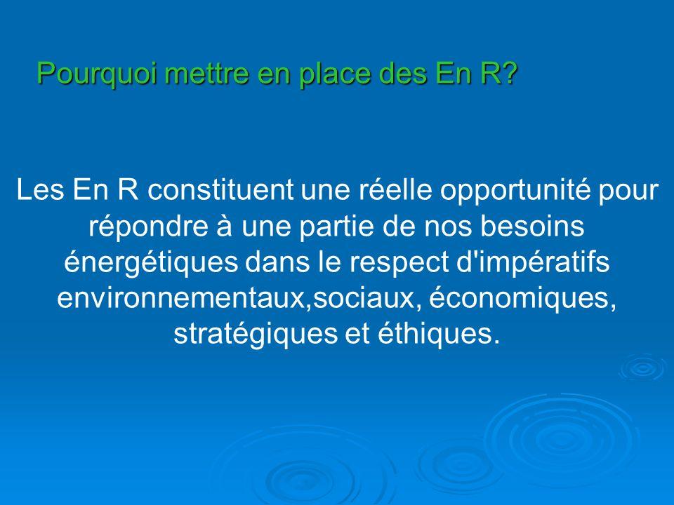 Pourquoi mettre en place des En R? Les En R constituent une réelle opportunité pour répondre à une partie de nos besoins énergétiques dans le respect