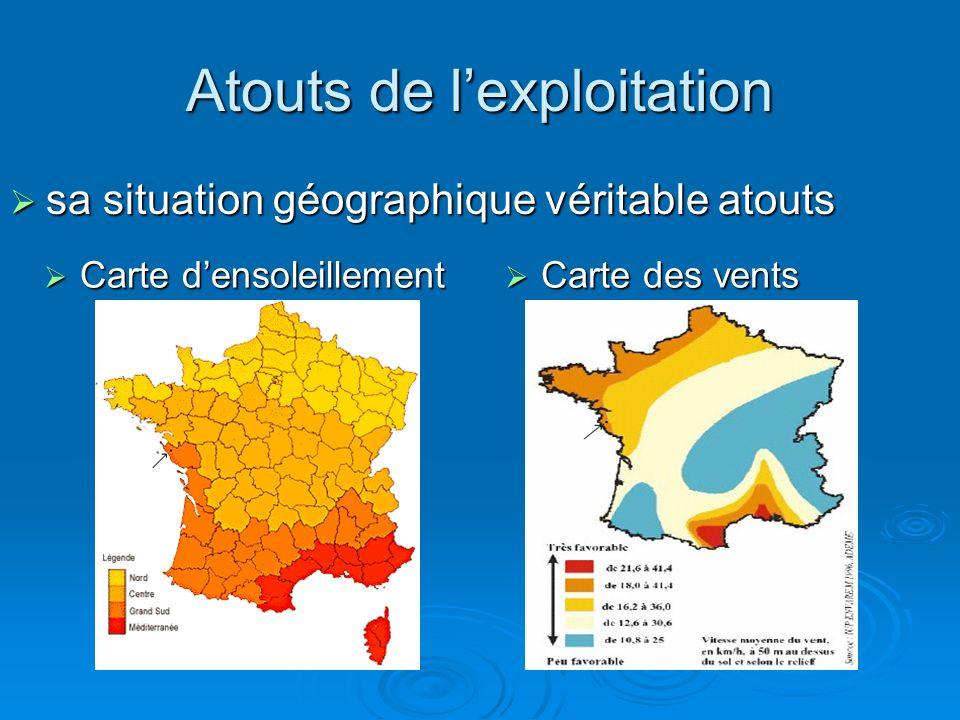 Atouts de lexploitation Carte densoleillement Carte densoleillement Carte des vents Carte des vents sa situation géographique véritable atouts sa situ