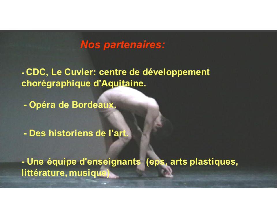 Nos partenaires: - CDC, Le Cuvier: centre de développement chorégraphique d'Aquitaine. - Opéra de Bordeaux. - Des historiens de l'art. - Une équipe d'
