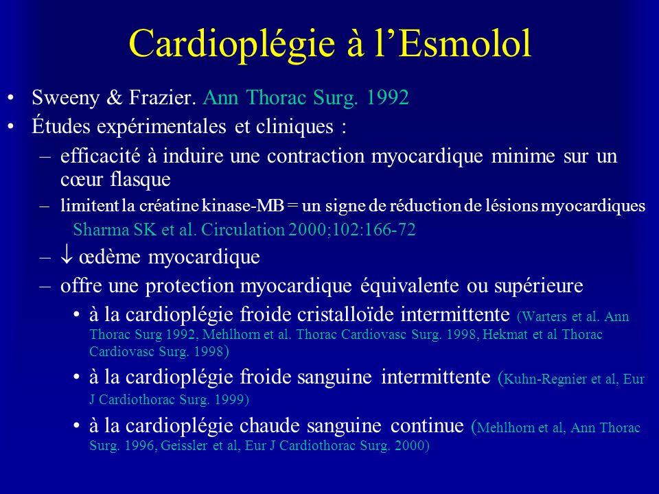 Cardioplégie à lEsmolol Sweeny & Frazier. Ann Thorac Surg. 1992 Études expérimentales et cliniques : –efficacité à induire une contraction myocardique