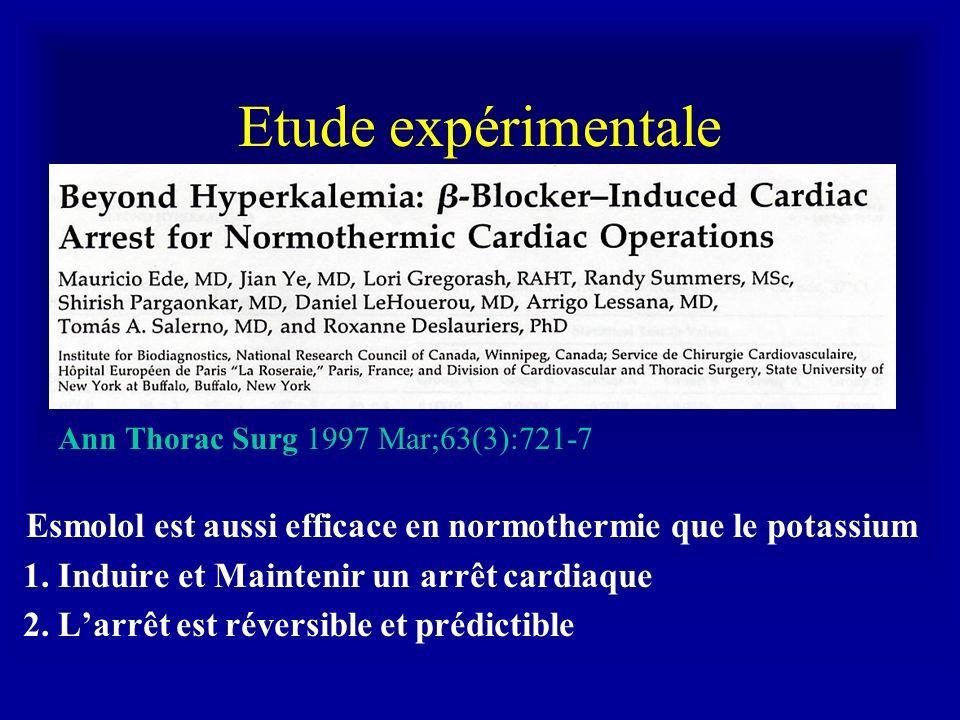Etude expérimentale Ann Thorac Surg 1997 Mar;63(3):721-7 Esmolol est aussi efficace en normothermie que le potassium 1. Induire et Maintenir un arrêt