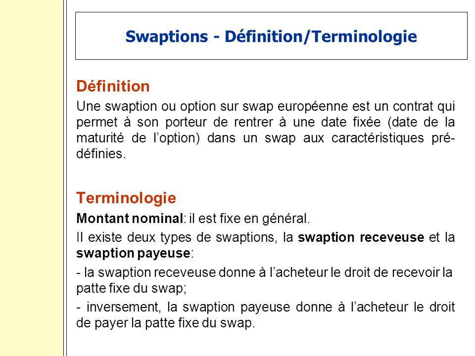 Swaptions - Définition/Terminologie Définition Une swaption ou option sur swap européenne est un contrat qui permet à son porteur de rentrer à une date fixée (date de la maturité de loption) dans un swap aux caractéristiques pré- définies.