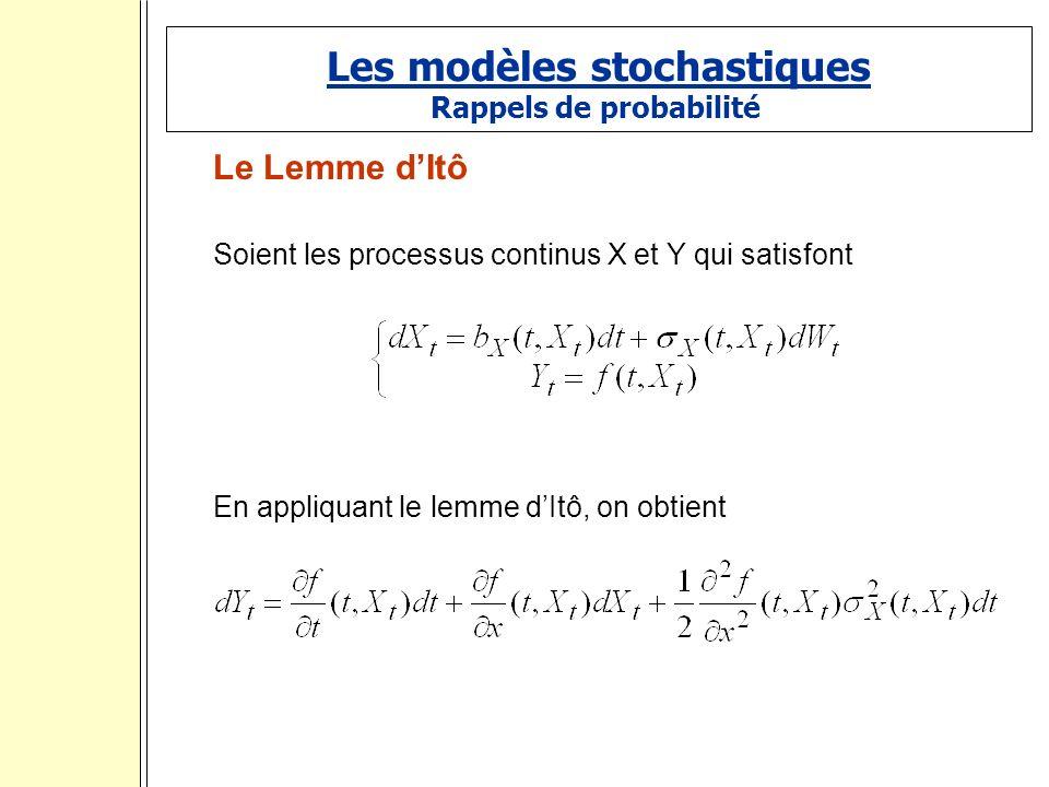 Les modèles stochastiques Rappels de probabilité Le Lemme dItô Soient les processus continus X et Y qui satisfont En appliquant le lemme dItô, on obtient.