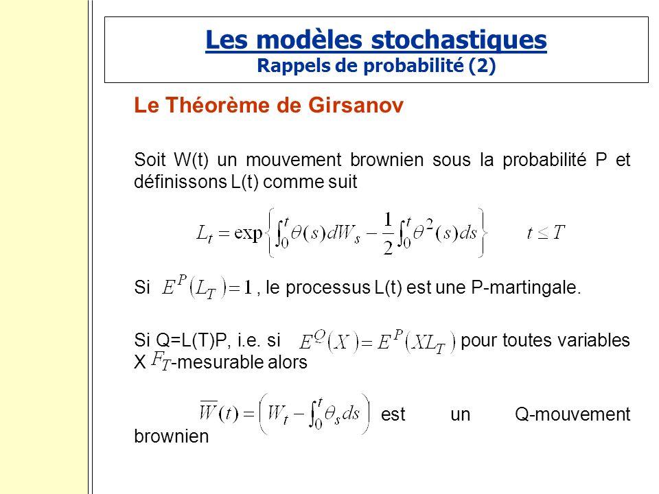 Les modèles stochastiques Rappels de probabilité (2) Le Théorème de Girsanov Soit W(t) un mouvement brownien sous la probabilité P et définissons L(t) comme suit Si, le processus L(t) est une P-martingale.