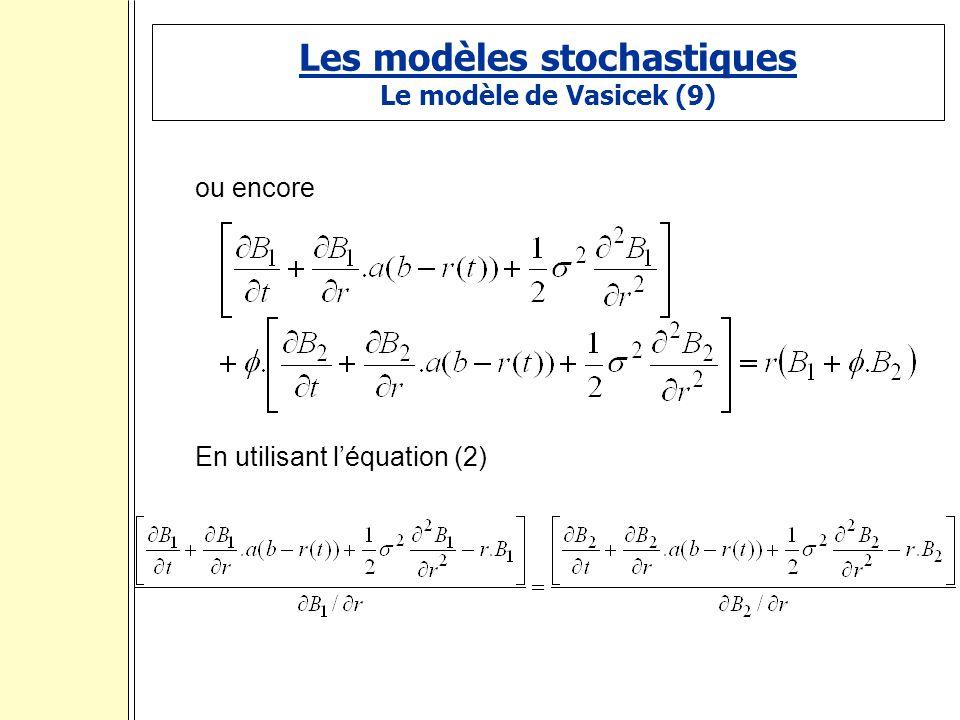Les modèles stochastiques Le modèle de Vasicek (9) ou encore En utilisant léquation (2) :