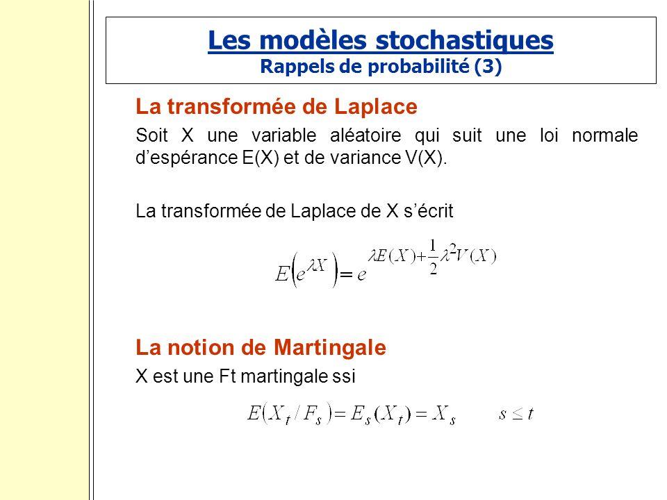 Les modèles stochastiques Rappels de probabilité (3) La transformée de Laplace Soit X une variable aléatoire qui suit une loi normale despérance E(X) et de variance V(X).