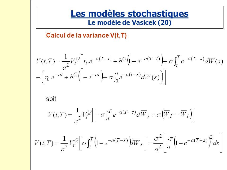 Les modèles stochastiques Le modèle de Vasicek (20) Calcul de la variance V(t,T) soit :