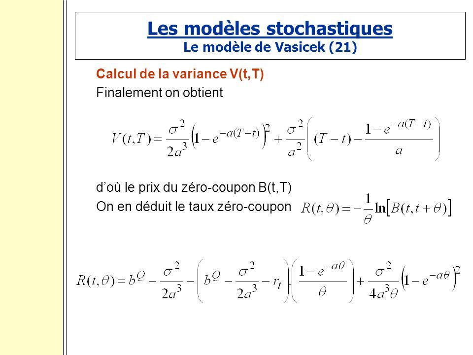 Les modèles stochastiques Le modèle de Vasicek (21) Calcul de la variance V(t,T) Finalement on obtient doù le prix du zéro-coupon B(t,T) On en déduit le taux zéro-coupon :