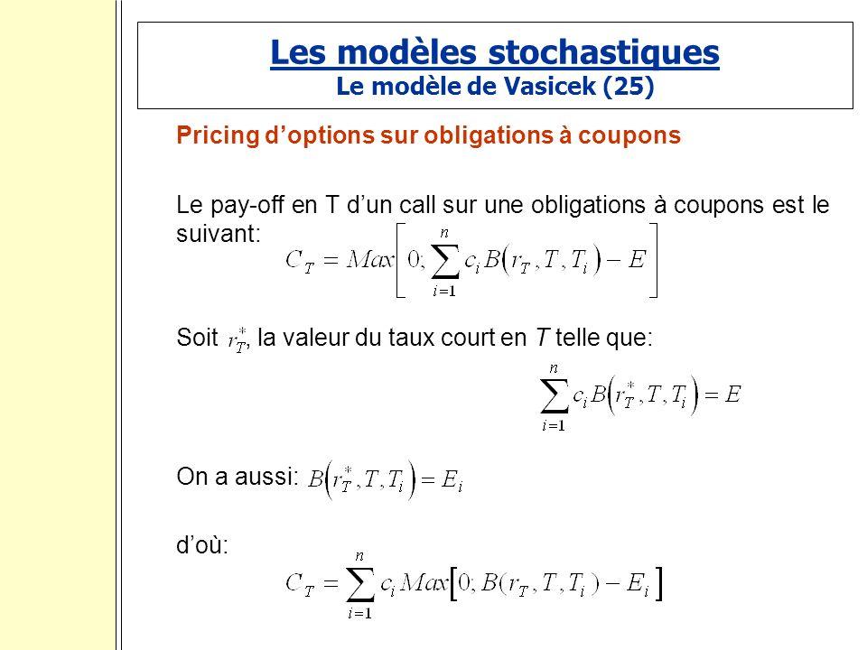 Les modèles stochastiques Le modèle de Vasicek (25) Pricing doptions sur obligations à coupons Le pay-off en T dun call sur une obligations à coupons est le suivant: Soit, la valeur du taux court en T telle que: On a aussi: doù: :