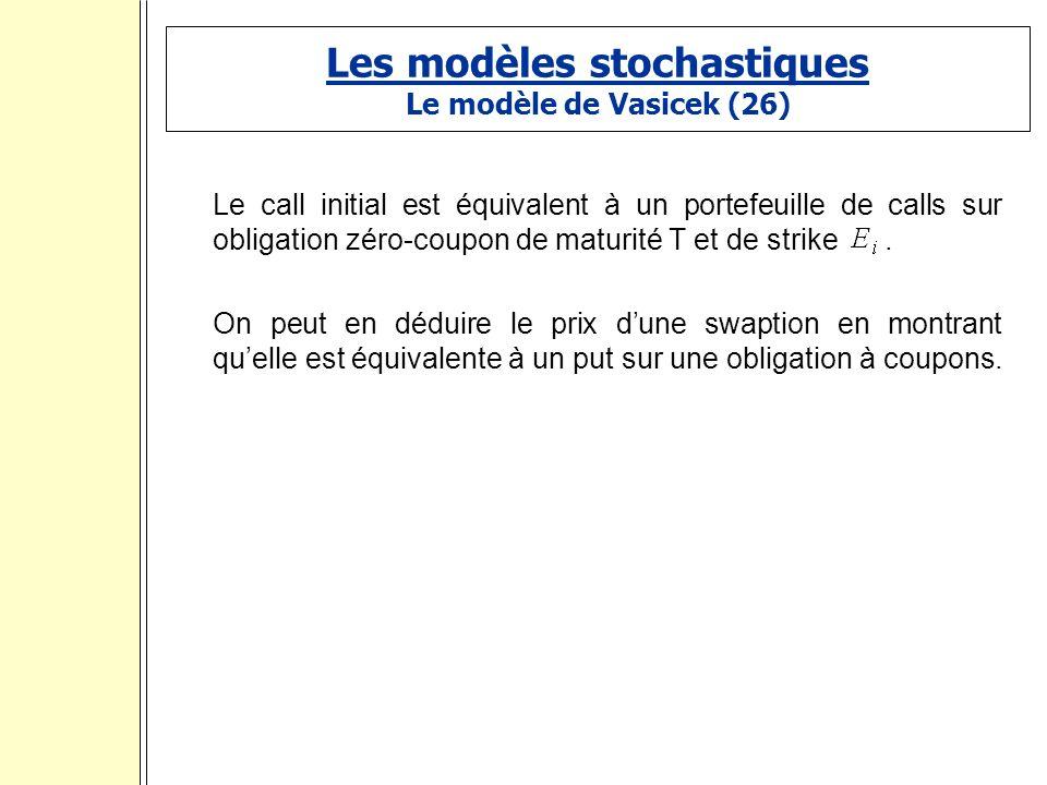 Les modèles stochastiques Le modèle de Vasicek (26) Le call initial est équivalent à un portefeuille de calls sur obligation zéro-coupon de maturité T et de strike.