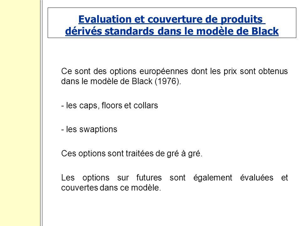 Evaluation et couverture de produits dérivés standards dans le modèle de Black Ce sont des options européennes dont les prix sont obtenus dans le modèle de Black (1976).