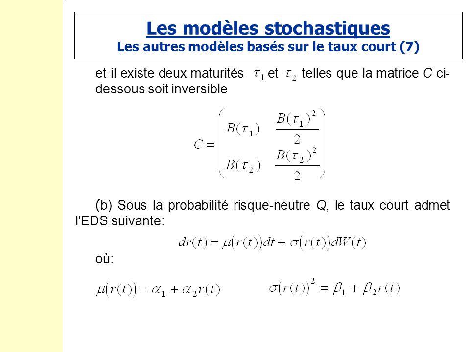 Les modèles stochastiques Les autres modèles basés sur le taux court (7) et il existe deux maturités et telles que la matrice C ci- dessous soit inversible ( b) Sous la probabilité risque-neutre Q, le taux court admet l EDS suivante: où: :
