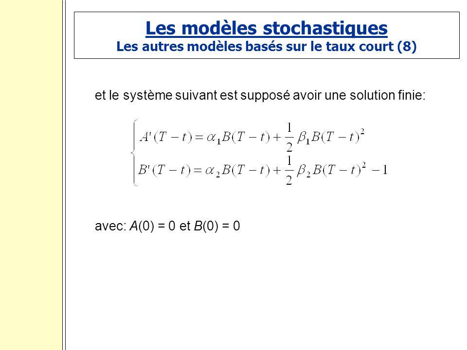 Les modèles stochastiques Les autres modèles basés sur le taux court (8) et le système suivant est supposé avoir une solution finie: avec: A(0) = 0 et B(0) = 0 :