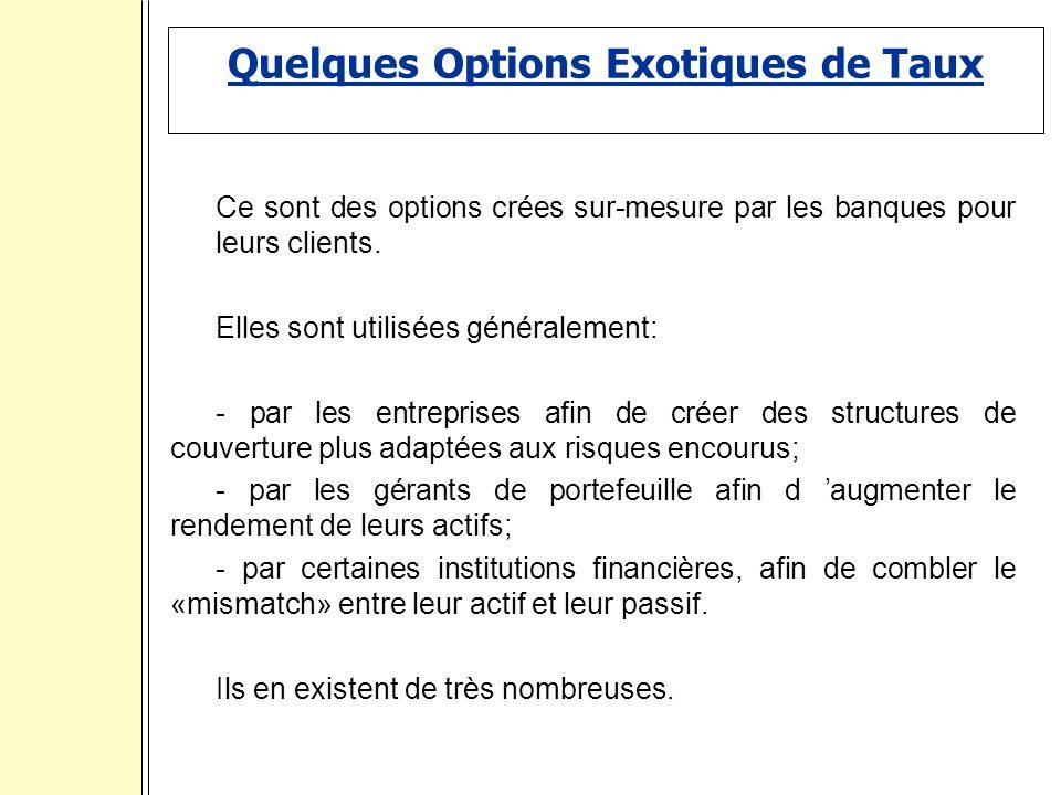 Quelques Options Exotiques de Taux Ce sont des options crées sur-mesure par les banques pour leurs clients.