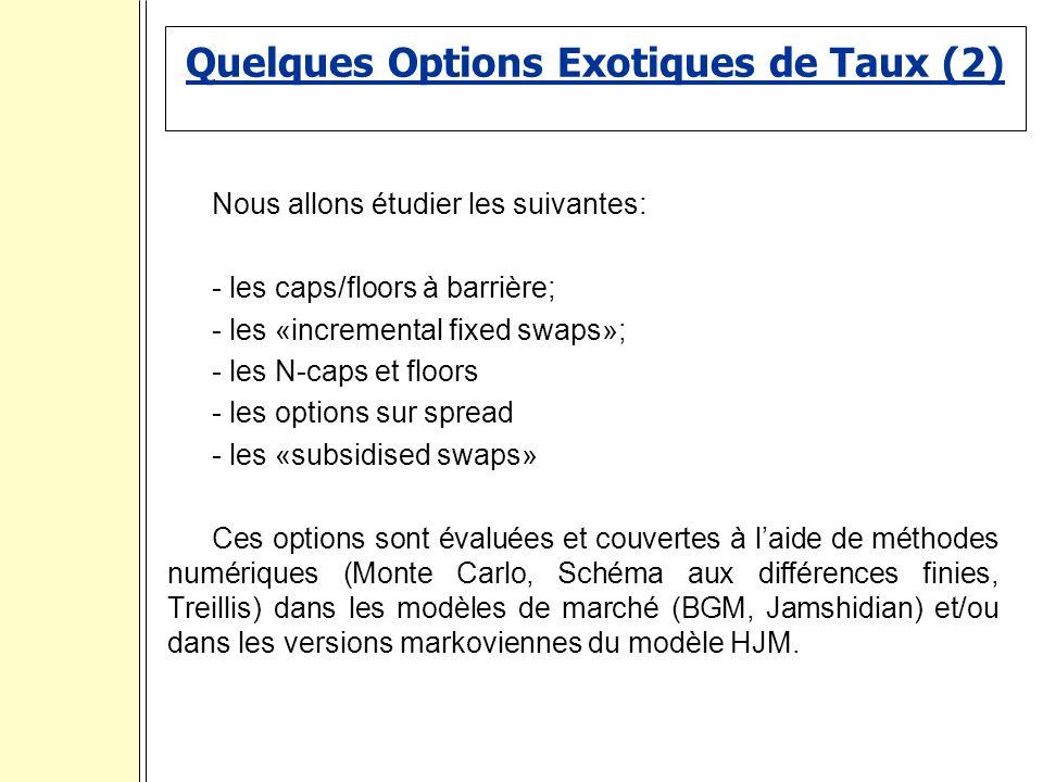 Quelques Options Exotiques de Taux (2) Nous allons étudier les suivantes: - les caps/floors à barrière; - les «incremental fixed swaps»; - les N-caps et floors - les options sur spread - les «subsidised swaps» Ces options sont évaluées et couvertes à laide de méthodes numériques (Monte Carlo, Schéma aux différences finies, Treillis) dans les modèles de marché (BGM, Jamshidian) et/ou dans les versions markoviennes du modèle HJM.