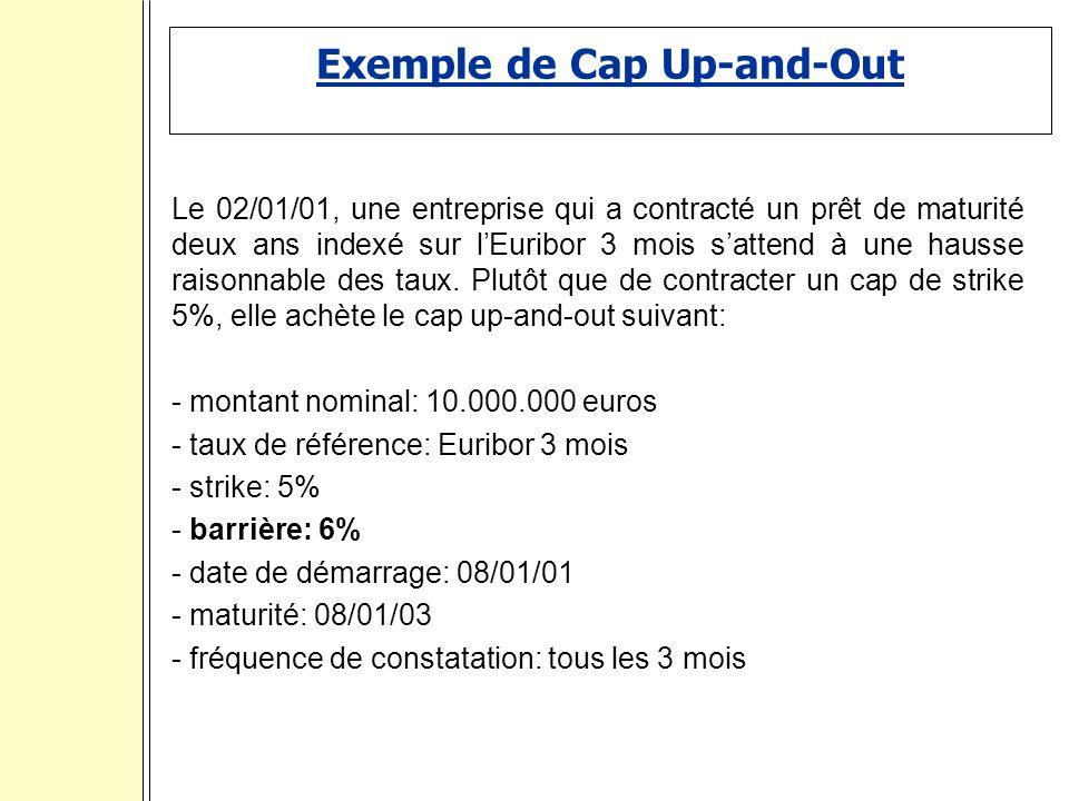 Exemple de Cap Up-and-Out Le 02/01/01, une entreprise qui a contracté un prêt de maturité deux ans indexé sur lEuribor 3 mois sattend à une hausse raisonnable des taux.