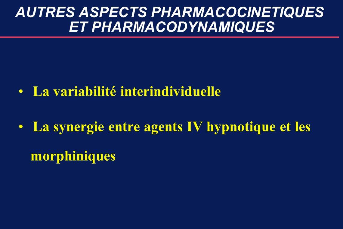 AUTRES ASPECTS PHARMACOCINETIQUES ET PHARMACODYNAMIQUES La variabilité interindividuelle La synergie entre agents IV hypnotique et les morphiniques