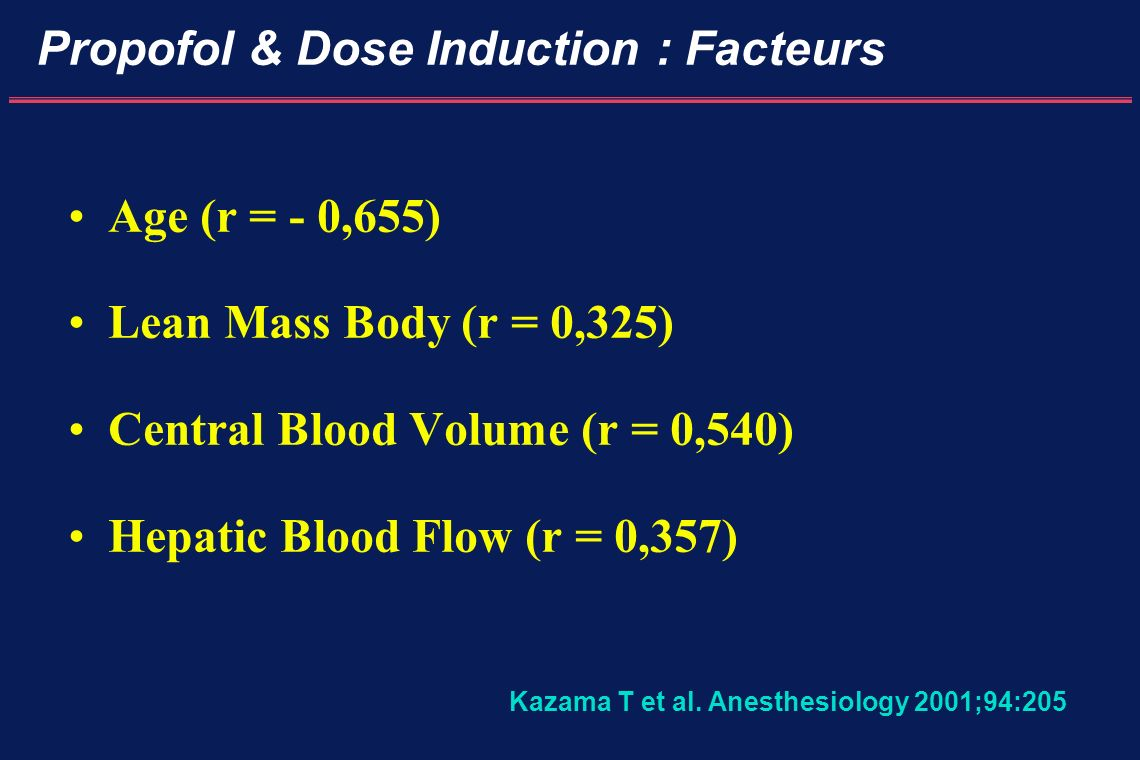Propofol & Dose Induction : Facteurs Age (r = - 0,655) Lean Mass Body (r = 0,325) Central Blood Volume (r = 0,540) Hepatic Blood Flow (r = 0,357) Kaza
