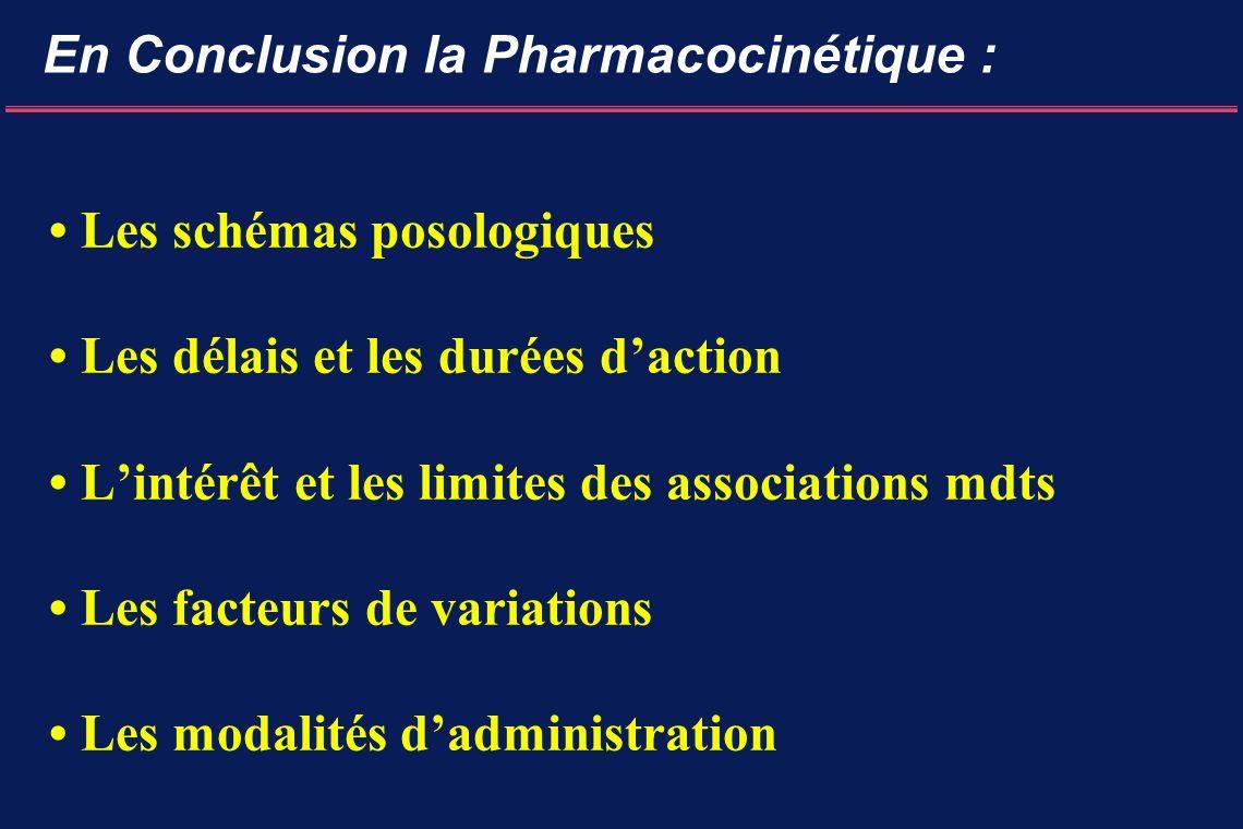 En Conclusion la Pharmacocinétique : Les schémas posologiques Les délais et les durées daction Lintérêt et les limites des associations mdts Les facteurs de variations Les modalités dadministration