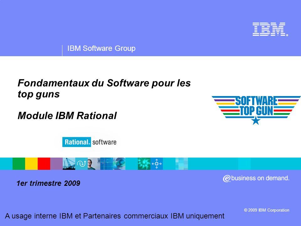 IBM Software Group   Rational software A usage interne IBM et Partenaires commerciaux IBM uniquement 42 Identifier des opportunités pour les solutions Rational * Quelles sont vos trois initiatives stratégiques principales, et quels sont les logiciels (ou les projets logiciels) qui les soutiennent .
